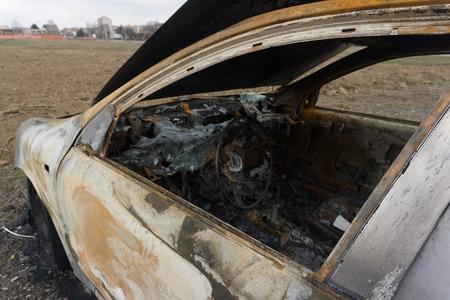 Burned car abandoned after stealing.