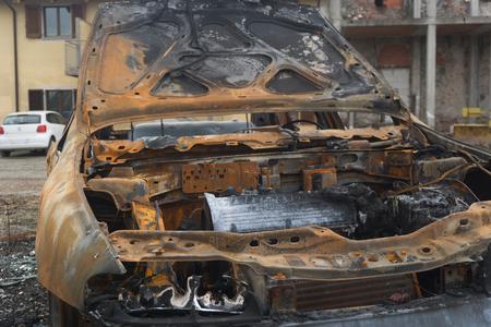 Image of fragment of burned car. Stock Photo
