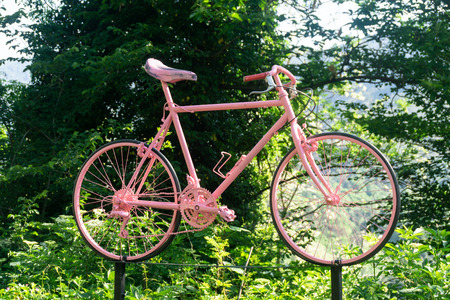 A pink bike, symbol of an Italian famous race.