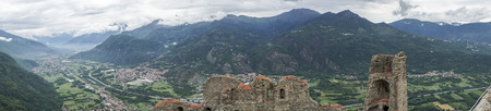 Panorama of Susa valley viewed from Sacra di San Michele of Piedmont, Italy