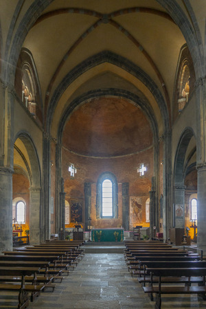 interior of the church  of the The Sacra di San Michele, also known as Saint Michaels Abbey, is a religious complex on Mount Pirchiriano, situated on the south side of the Val di Susa Editorial