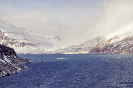 Mont-Cenis or Moncenisio lake in winter