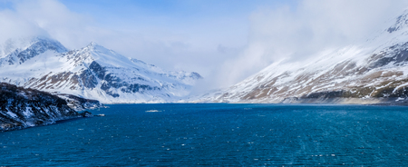 Mont-Cenis or Moncenisio lake in winter ,panorama view