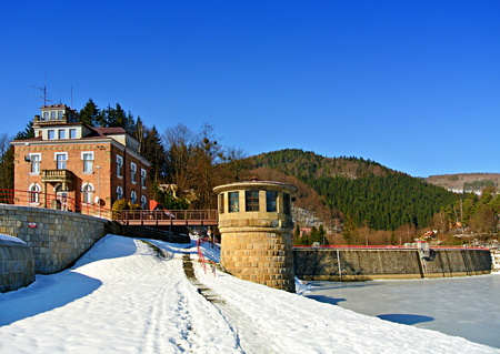 Bystricka dam in winter and sunny day