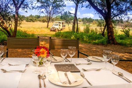 safari game drive: A safari game drive vehicle is parked close to a breakfast setting in the African bush. Tourists are treated to a bush breakfast after game viewing in the Cradle of Humankind, South Africa.
