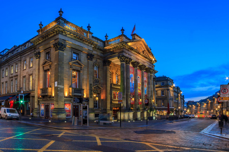 The Theatre Royal is a Grade I listed building on Grey Street in Newcastle upon Tyne. It opened 20th February 1837 and was built by local architects John and Benjamin Green as part of Richard Graingers grand design for the centre of Newcastle.