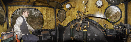 footplate: Tanfield, UK, March 13th, 2016 On the footplate of Engine No. 3, Twizell a steam locomotive at Tanfield Railway, the oldest railway in the world. A 3 part Panrama.