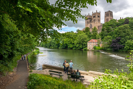 Summertime with Durham Cathedral and the Old Fulling Mill overlooking the River Wear, County Durham, England, 17 July 2015. Editorial
