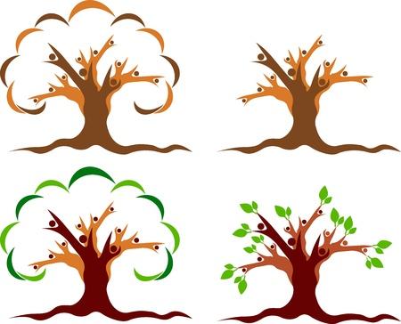 marca libros: Arte de la ilustraci�n de un logotipo �rbol pareja con fondo blanco Vectores
