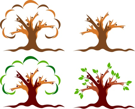 Illustration art of a couple tree logo with isolated background Stock Illustratie