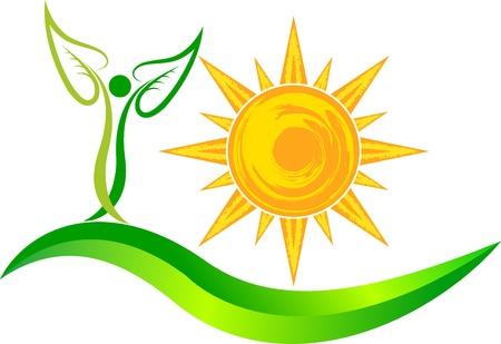 隔離された背景を持つ太陽葉ロゴのイラスト アート