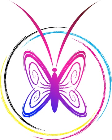 Illustration art of a butterfly logo with isolated background