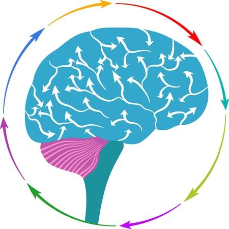 Illustratie art voor een hersenen pijl logo met geïsoleerde achtergrond
