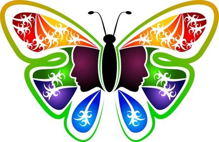 donna farfalla: Illustrazione arte di un logo donna farfalla con sfondo isolato