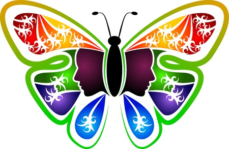 femme papillon: L'art Illustration d'un logo de femme de papillon avec fond isol� Illustration