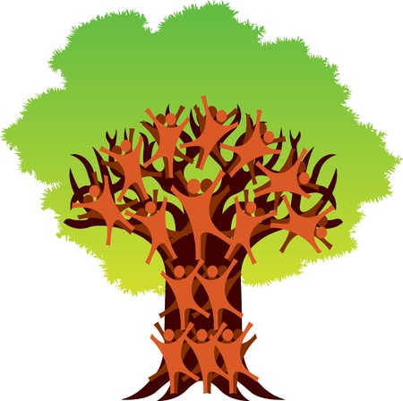 Illustration art of a human tree logo with isolated background Vector