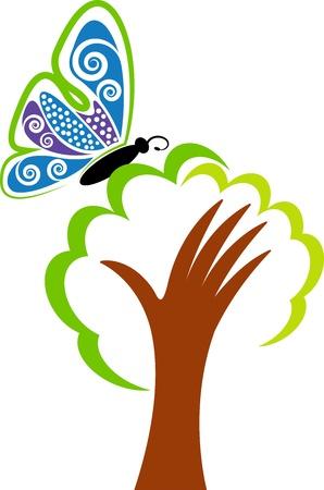 Illustration d'art d'un logo d'arbre à la main avec fond isolé Banque d'images - 20853063
