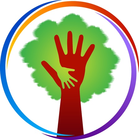 Illustration art of a hand tree logo with isolated background Illusztráció