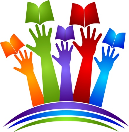 book logo: Arte de la ilustraci�n de un logotipo libro manos con fondo blanco Vectores