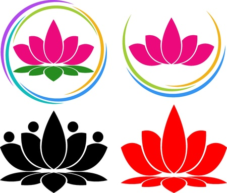 Illustration art of a lotus logo with isolated background Vector