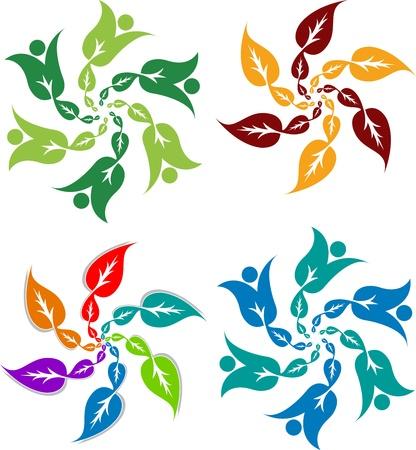 eco slogan: Arte de la ilustraci�n de un logotipo de la hoja de estilo con el fondo aislado