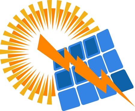Illustratie kunst van een zonne-energie-logo met geïsoleerde achtergrond Stock Illustratie