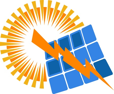 Illustration Kunst eines Solarstrom-Logo mit isolierten Hintergrund