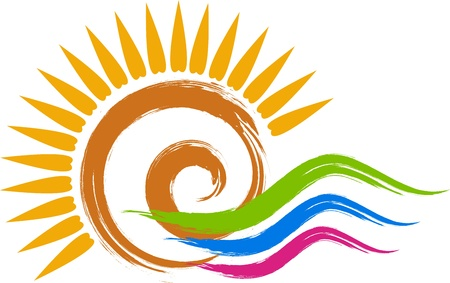 Illustration art of a swirl sun logo with isolated background