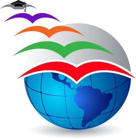 graduados: Arte de la ilustraci�n de un logotipo de graduaci�n vuela con fondo blanco Vectores
