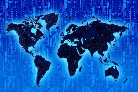 bytes: Illustration drawing of world electrical Technology background