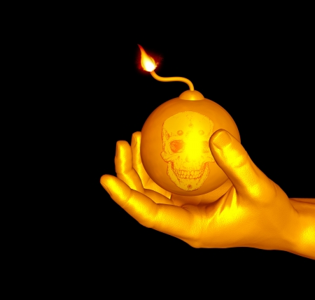 An 3d design of fire bomb in black background Stock Photo - 20985431