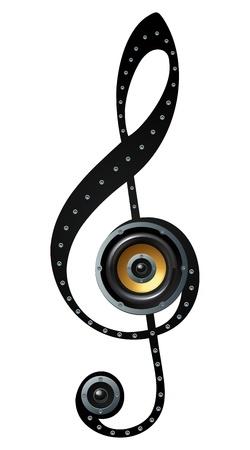 semiquaver: Illustrazioni di disegno di musica simbolo dell'altoparlante nota Vettoriali