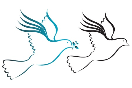 high spirits: Illustration art of a doves with isolated background Illustration