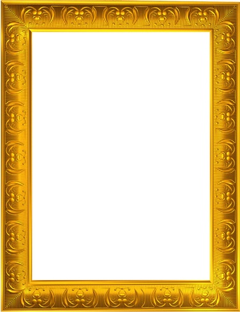 fancy box: Photo design of gold photo frame on white background
