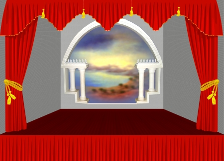 portiere: Illustration drawing of red velvet stage