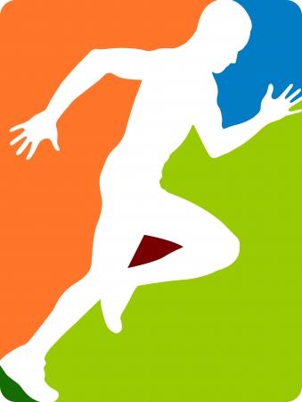 maratón: Ilustrace umění běžícího člověka s izolovanou pozadí Ilustrace