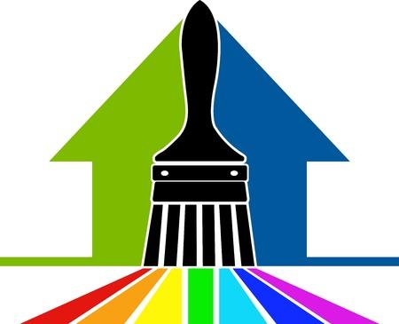 pintor de casas: Arte de la ilustración de un logotipo pincel con fondo blanco Vectores