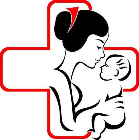 seniorenheim: Illustration Kunst eines Pflegeheims Logo mit isolierten Hintergrund