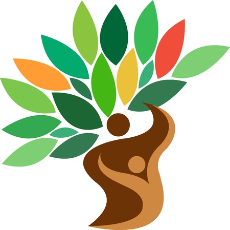 Ilustrace umění rodinný strom logo s izolovanou pozadí