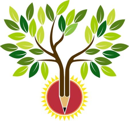 Arte di illustrazione di un albero di matita con sfondo isolato Vettoriali