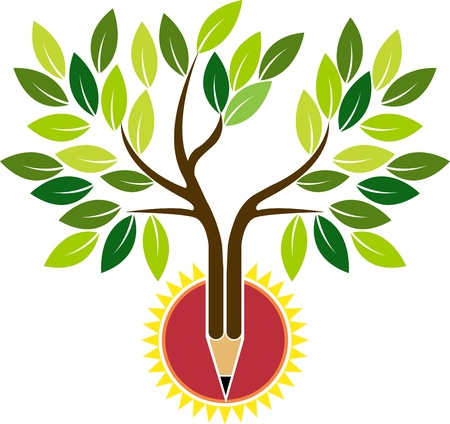 Illustration art of a pencil tree with isolated background  Vector