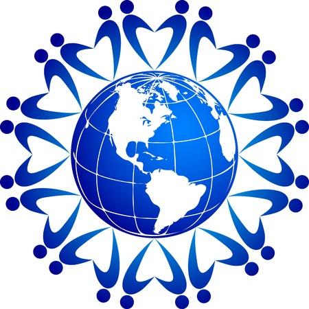 paix monde: Illustration d'art d'un tour du monde avec le fond d'isolement Illustration