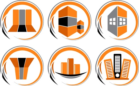 domicile: Illustration art of building collection logo with isolated background Illustration
