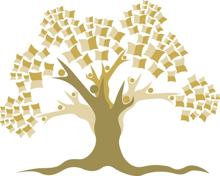 marca libros: Arte de la ilustración de un logotipo Árbol de la educación con el fondo aislado