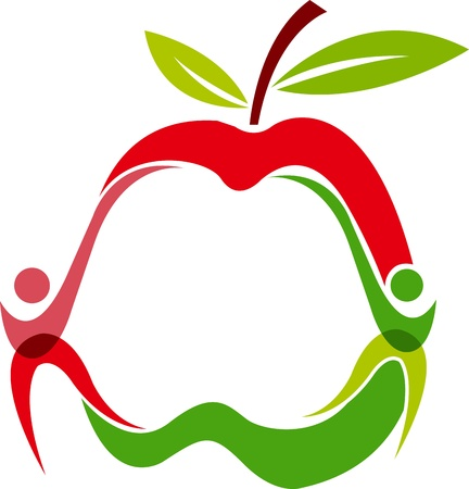 Illustration art of a couple logo with apple shape is isolated background