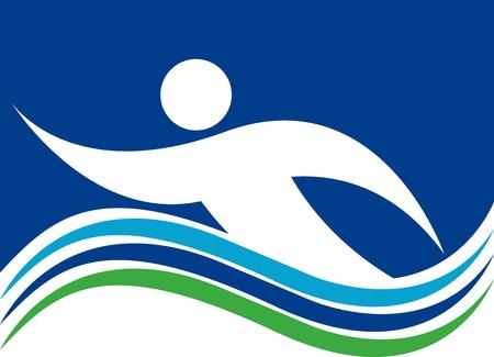 Illustratie kunst van een Zwemmen logo met geïsoleerde achtergrond Logo