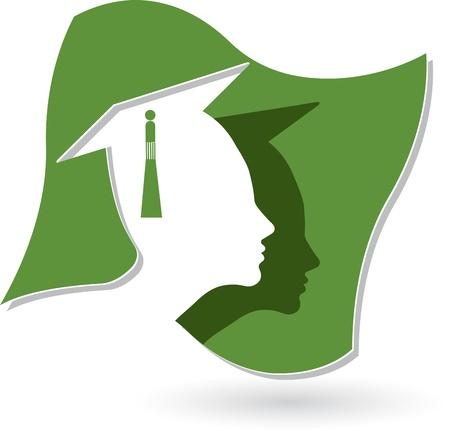graduados: Arte de la ilustraci�n de un logotipo de la graduaci�n con el fondo aislado