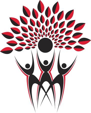 Arte de la ilustración de un logotipo árbol pareja con fondo blanco Vectores