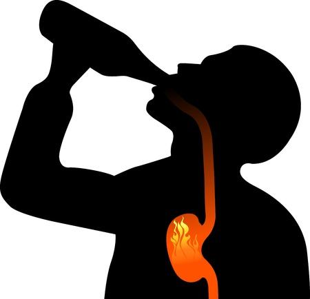 alcoholismo: Arte de la ilustraci�n de un alcoholismo con fondo blanco Vectores