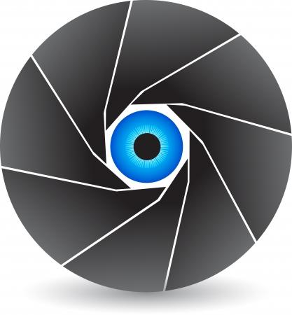 serrande: Arte di illustrazione di un logo di scatto occhio con sfondo isolato Vettoriali